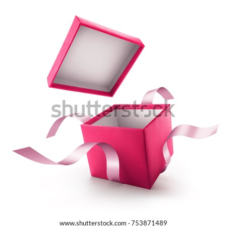 Pink open gift box with ribbon isolated on white background