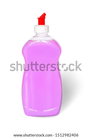 Pink or lilac dish washing liquid in a transparent plastic bottle isolated on a white background. Kitchen detergent. Household chemicals. Household chores. #1512982406