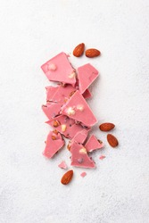 Pink or ruby chocolate, trendy modern food