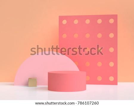 pink orange abstract scene 3d rendering