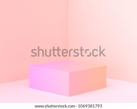 pink orange abstract wall corner scene 3d rendering minimal gradient podium
