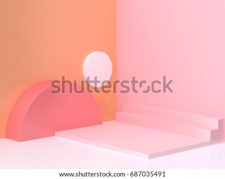 pink orange wall corner geometric abstract scene 3d rendering