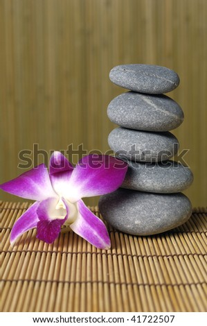 Pink orchid and stones on a brown backdrop