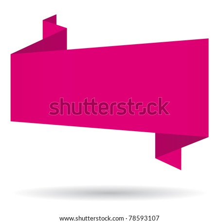 Pink origami speech bubble.