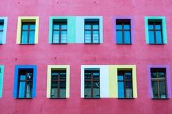 Pink painted building in Berlin, Germany.