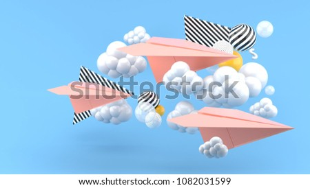 Pink paper airplane amid clouds on blue background.-3d render.