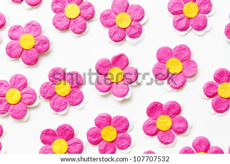 Pink paper flowers close up