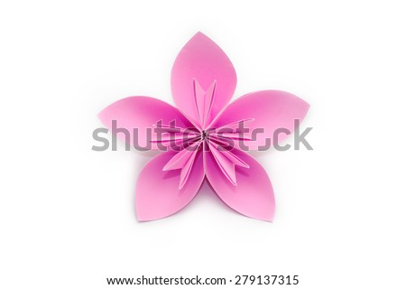 Pink paper origami flower on white background #279137315
