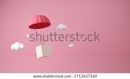 Pink parachute delivery objects jump down in the air while the white cloudy. Parachute 3D concept design. Pink background. Transportation on the air, 3D model concept. stock photo