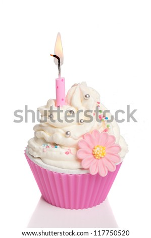 pink party cupcake with candle isolated