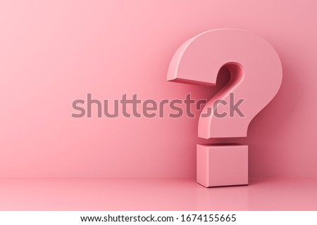 Pink pastel color question mark isolate on pink background with shadow and reflection 3D rendering Foto stock ©