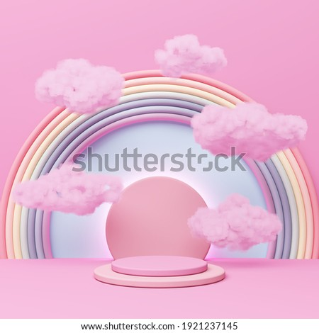 Pink pastel podium display cloud float rainbow girly advertising cute background celebrate sweet. kid playground colorful. put lovely gift for birthday, Christmas, New Year festival. 3D Illustration.