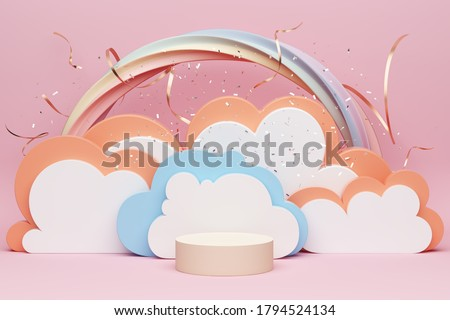 pink pastel product podium or display rainbow girly girl advertisment cloud layer set theatre vibe makeup cosmetic teenager confetti celebrate sweet festival promotion performance. 3D Illustration.