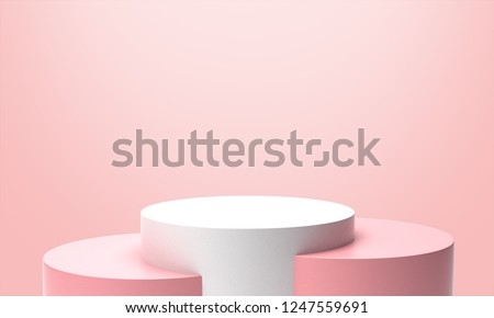 Pink Pastel Product Stand. 3D Rendering