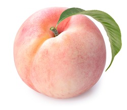 Pink peach fruit with leaf isolated on white background, Fresh Peach on White Background With clipping path,