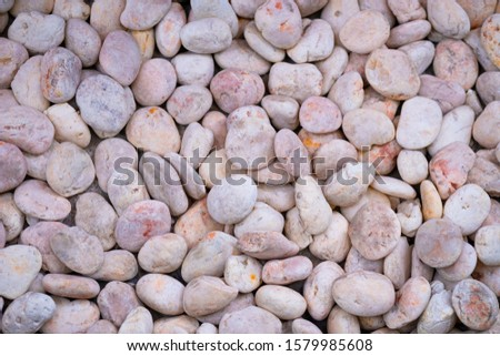 Pink pebbles for background and texture decoration of design art work.Rock or stone pebble is sign of spa and zen religion.