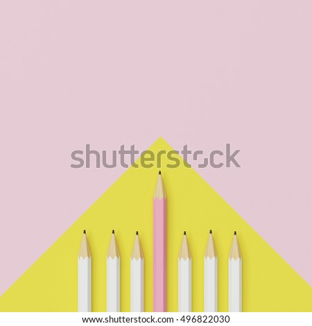 Pink pencil and white pencil on yellow and pink background. minimal creative concept.