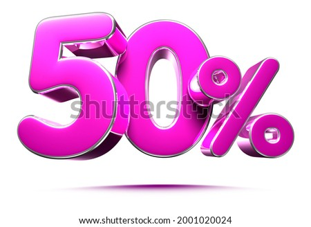 Pink 50 Percent 3d illustration Sign on White Background, Special Offer 50% Discount Tag, Sale Up to 50 Percent Off,share 50 percent,50% off storewide.With clipping path.