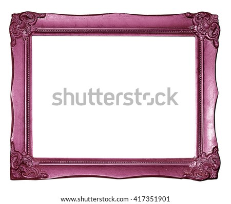 pink picture frame. Isolated on white background