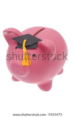 Pink pig coin bank with graduation cap on isolated white background