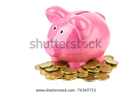 pink pig money box isolated