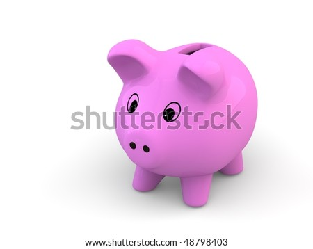 pink piggy bank - stock photo