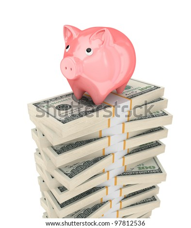 Pink piggy bank and dollar packs.Isolated on white background.3d rendered.