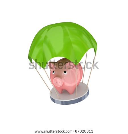 Pink piggy bank at green parachute.Isolated on white background. 3d rendered.