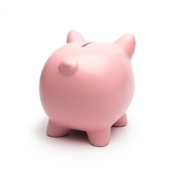 Pink Piggy Bank from behind