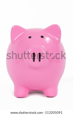 Pink piggy bank front view, isolated on white background. - stock photo