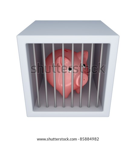 Pink piggy bank in a jail.Isolated on white background.3d rendered.