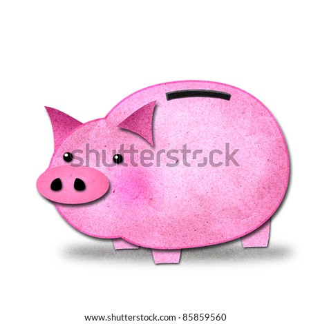 pink piggy bank isolated, create from paper craft.