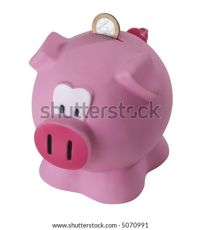Pink Piggy Bank - isolated on white