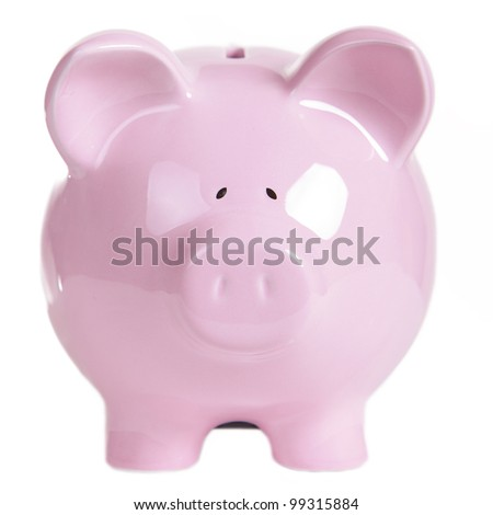 Pink piggy bank, isolated on white