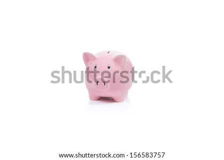Pink Piggy Bank isolated with white background