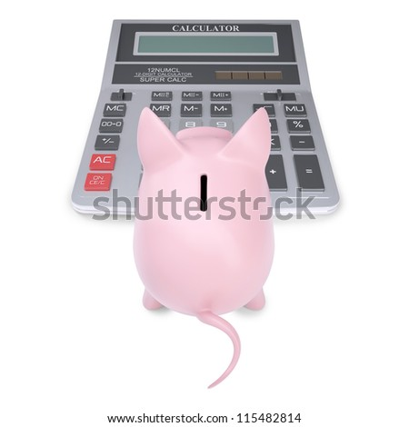 Pink piggy bank on a calculator. Isolated render on a white background