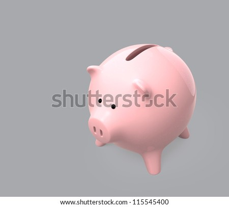 pink piggy bank on gray background