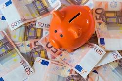 Pink piggy bank on money, euros bills.