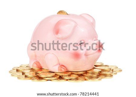 Pink piggy bank on pile of coins, isolated on the white background, clipping path included.