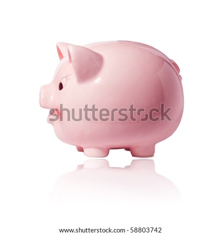 Pink piggy bank on white background with reflection