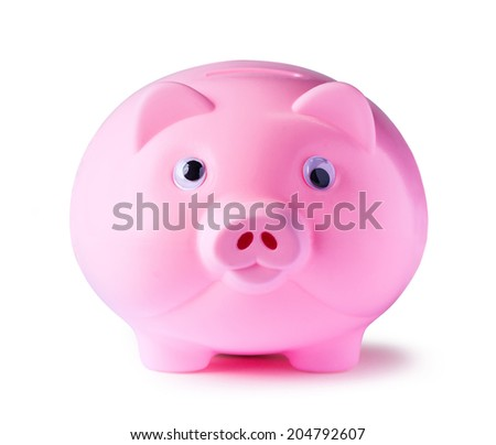 Pink piggy bank onwhite background with clipping path