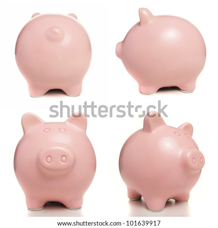 pink piggy bank over white background