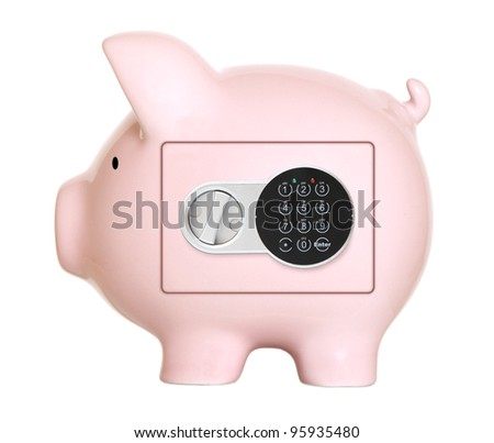 Pink piggy bank safe - stock photo