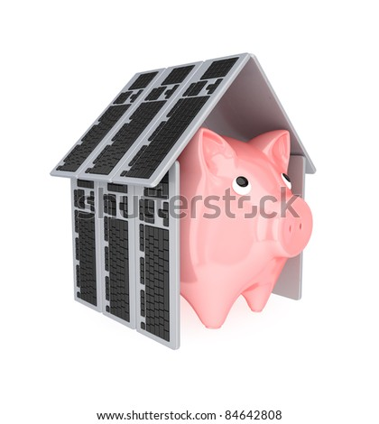 Pink piggy bank under a roof made of PC keyboards.3d rendered.Isolated on white background.