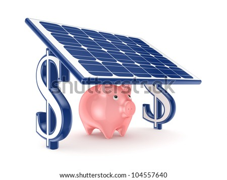 Pink piggy bank under solar battery.Isolated on white background.3d rendered.