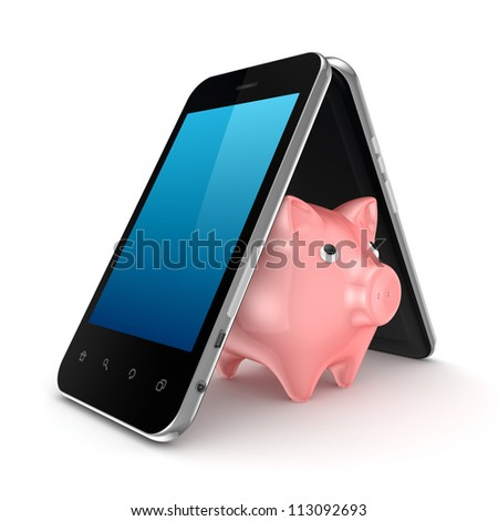 Pink piggy bank under the roof made of modern mobile phones.Isolated on white background.3d rendered.