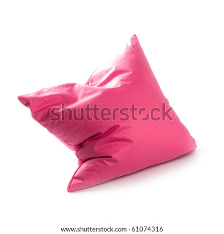 pink pillow isolated on white background