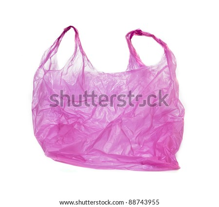 pink plastic bag on white background