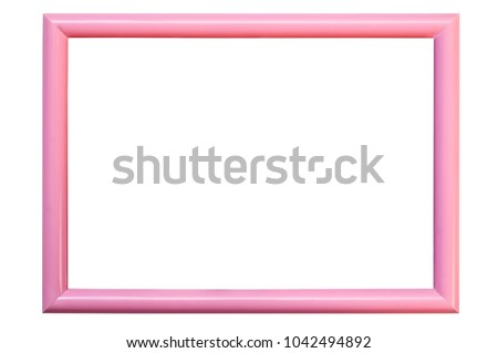 Pink plastic frame on white background for photos. Horizontal. Isolated