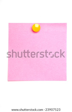 Pink post it note isolated on white with yellow drawing pin